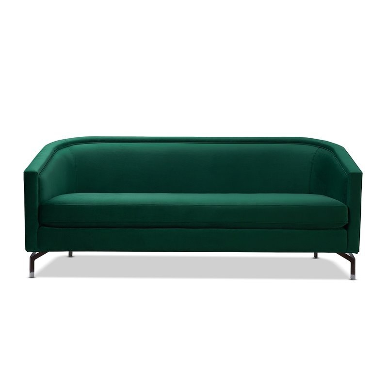 Sandy Wilson Home Annette Modern Sofa With Polished Metal Within Annette Navy Sofas (View 3 of 15)