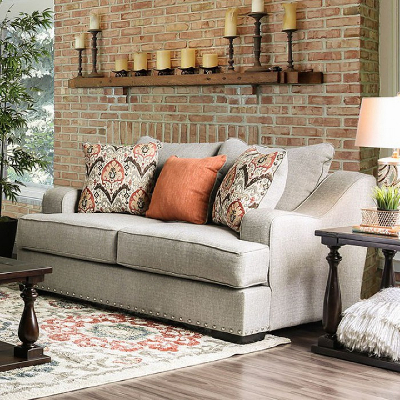Savannah Transitional Sloped Arms Light Grey Sofa Set With With 2Pc Polyfiber Sectional Sofas With Nailhead Trims Gray (View 12 of 15)