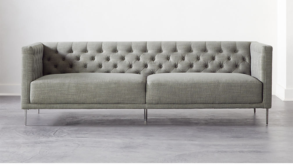 Savile Slate Tufted Sofa + Reviews   Cb2 In 2020   Tufted With Regard To Gneiss Modern Linen Sectional Sofas Slate Gray (View 6 of 15)