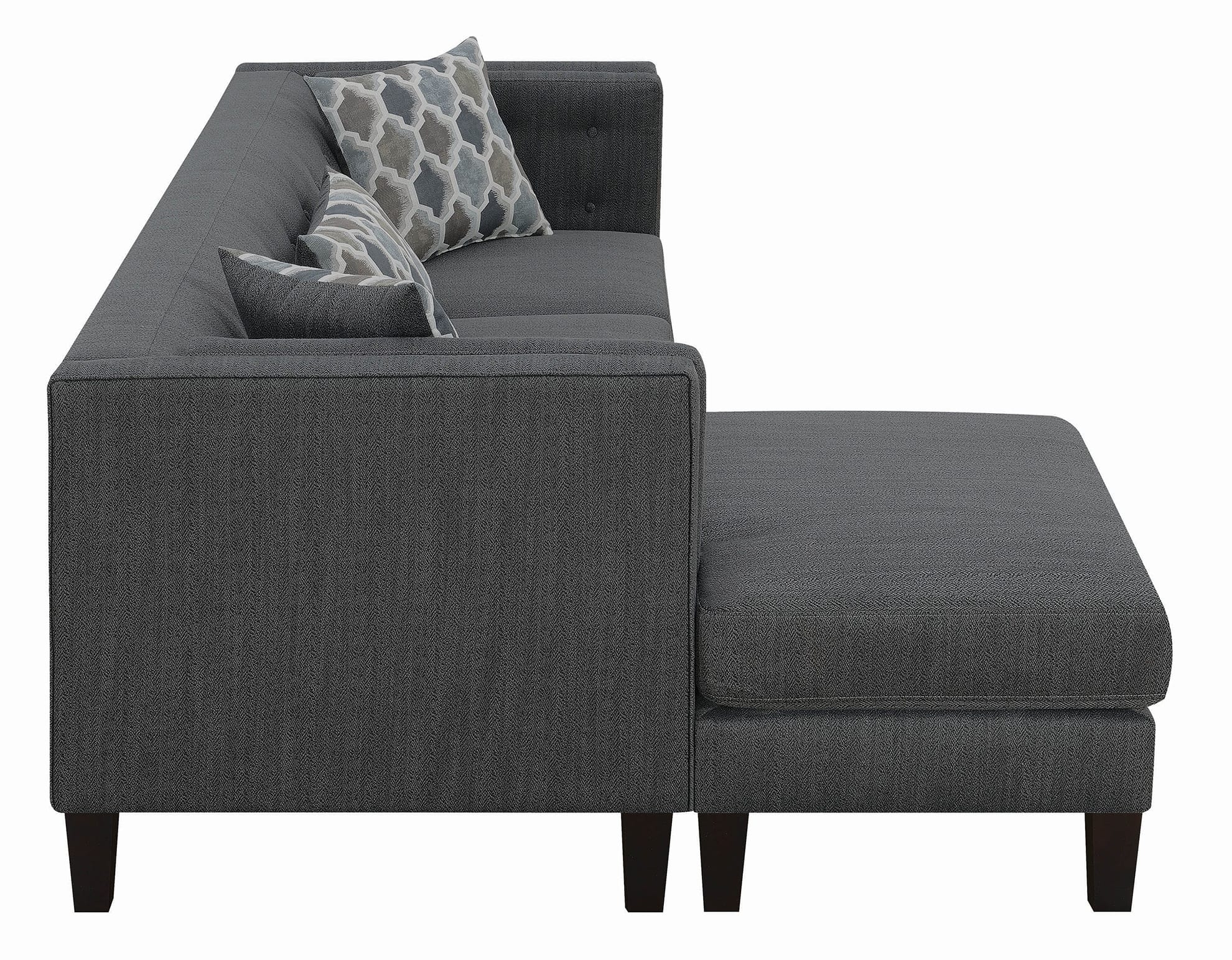 Sawyer Contemporary Dusty Blue Sectional | Quality With Brayson Chaise Sectional Sofas Dusty Blue (View 4 of 15)