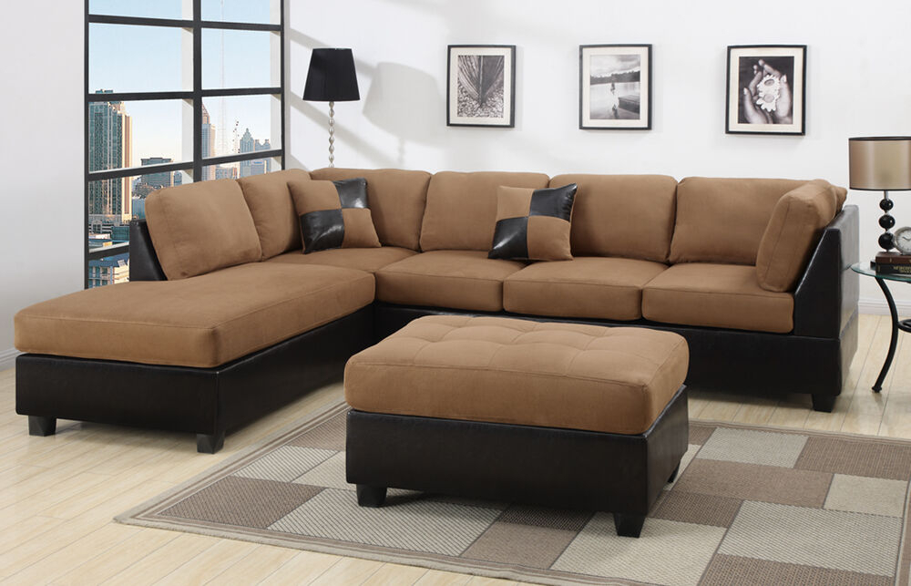 Sectional Sectionals Sofa Couch Loveseat Couches With Free Regarding Bonded Leather All In One Sectional Sofas With Ottoman And 2 Pillows Brown (View 3 of 15)