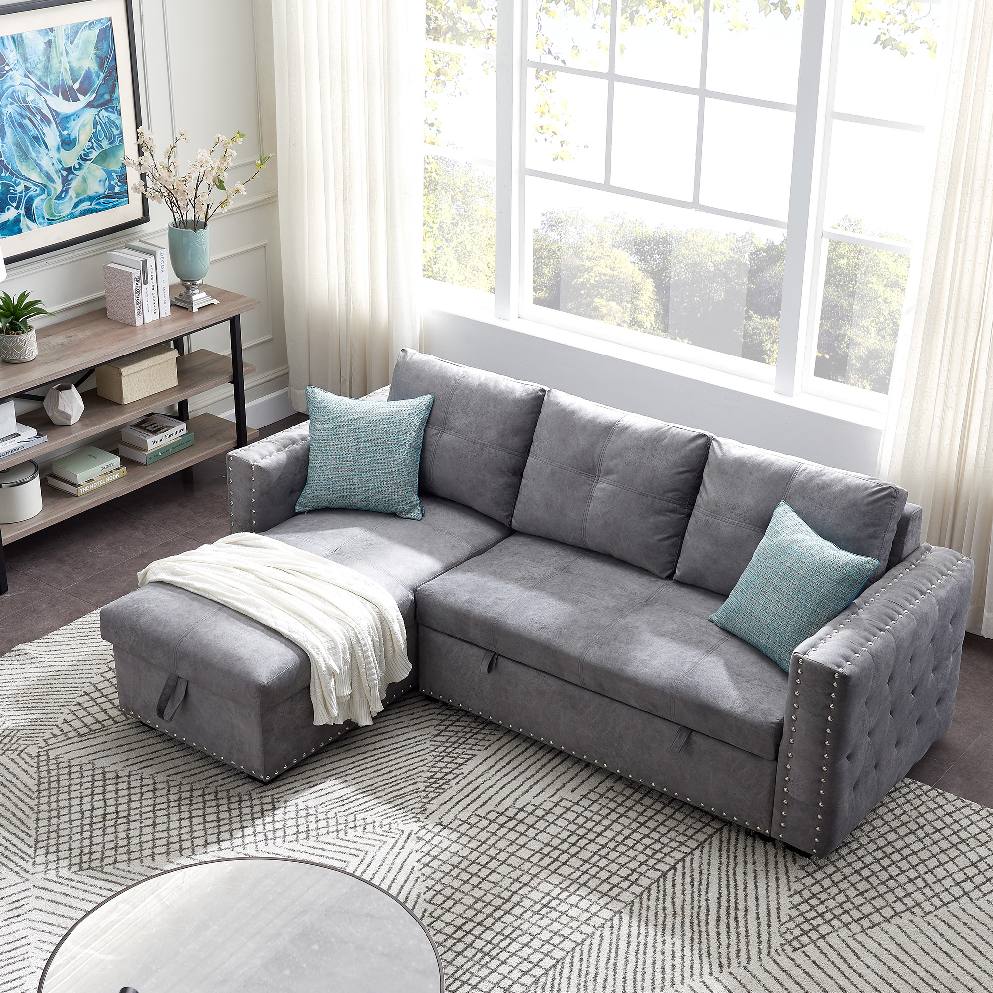 Segmart Sectional Sofa, Gray Fabric – Walmart Within Copenhagen Reversible Small Space Sectional Sofas With Storage (View 6 of 15)