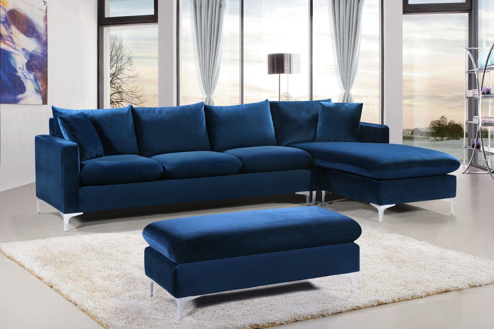 Selene Contemporary Plush Navy Blue Velvet Sectional Sofa Regarding Strummer Velvet Sectional Sofas (View 4 of 15)