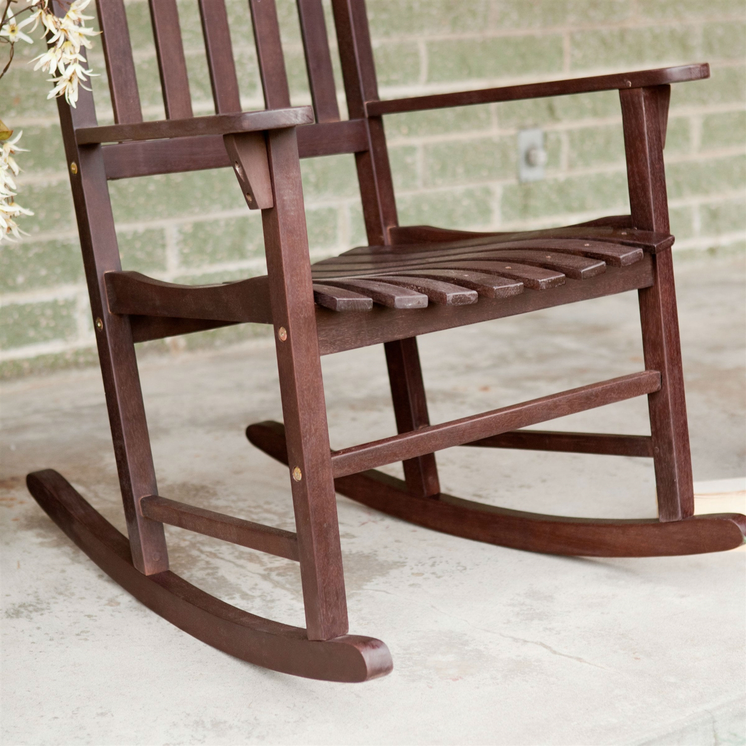 Set Of 2 – Indoor/Outdoor Patio Porch Dark Brown Slat Pertaining To Rocking Sofa Chairs (View 4 of 15)
