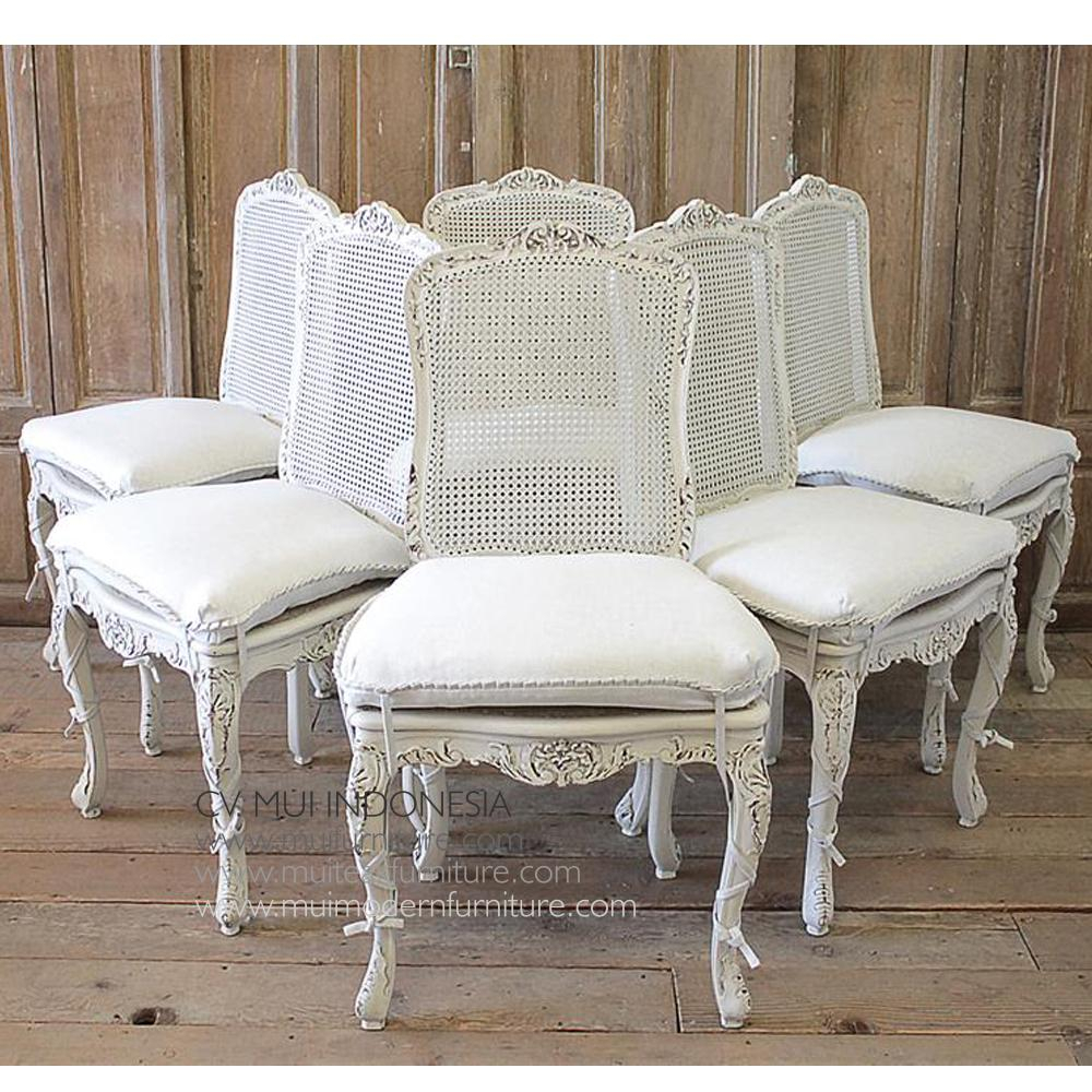 Set Of 6 French Country Dining Chairs | Mui Furniture Throughout Country Sofas And Chairs (View 9 of 15)