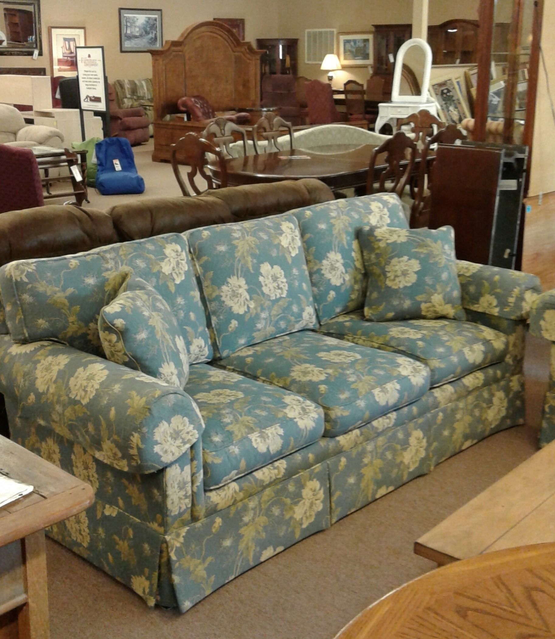 Sherrill Blue Floral Sofa   Delmarva Furniture Consignment Regarding Floral Sofas And Chairs (View 1 of 15)