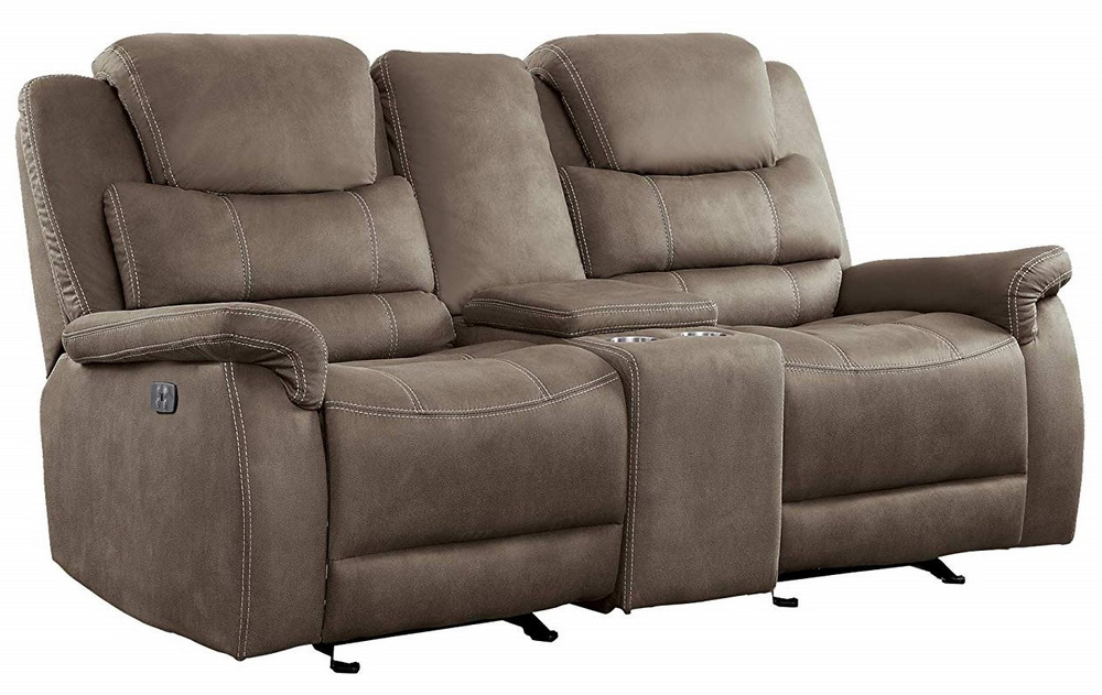 Shola Brown Fabric Power Recliner Loveseat W/Console With Expedition Brown Power Reclining Sofas (View 4 of 15)