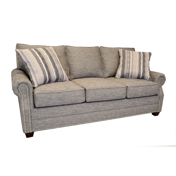 Shop Alston Heather Grey Sofa With Nailhead Trim – Free Intended For Radcliff Nailhead Trim Sectional Sofas Gray (View 12 of 15)