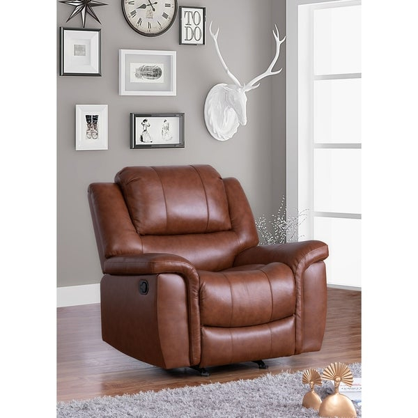 Shop Copper Grove Forbach Top Grain Leather Recliner In Colby Manual Reclining Sofas (View 8 of 15)