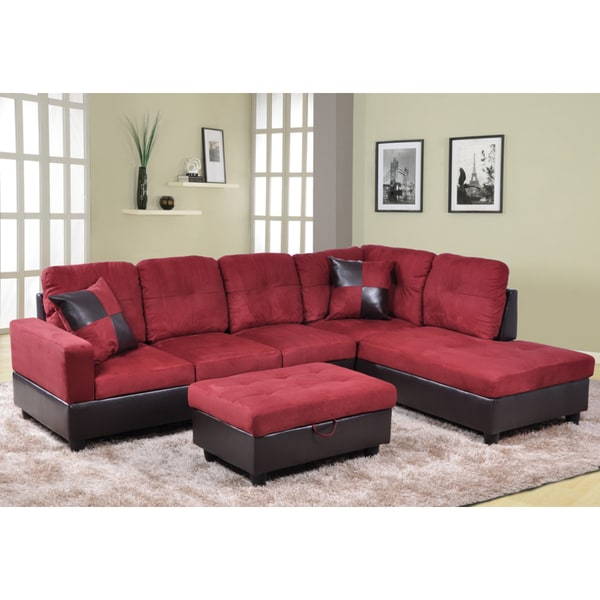 Shop Delima 3 Piece Burgundy Microsuede And Faux Leather Inside Cromwell Modular Sectional Sofas (View 5 of 15)