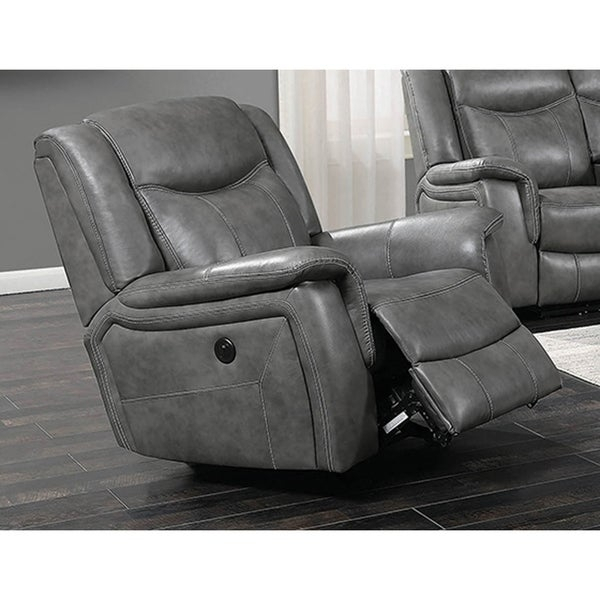 Shop Encino Light Grey Faux Leather Power Glider Recliner Pertaining To Colby Manual Reclining Sofas (View 9 of 15)