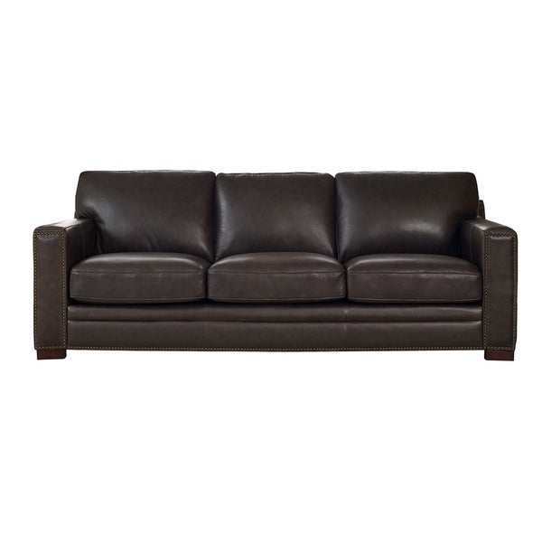 Shop Florence Grey Leather Sofa – On Sale – Overstock In Florence Leather Sofas (View 13 of 15)