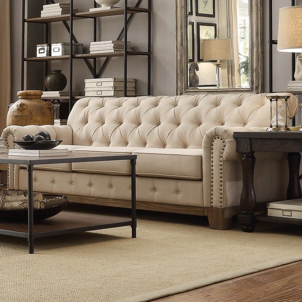 Shop Greenwich Tufted Scroll Arm Nailhead Beige Pertaining To Artisan Beige Sofas (View 11 of 15)