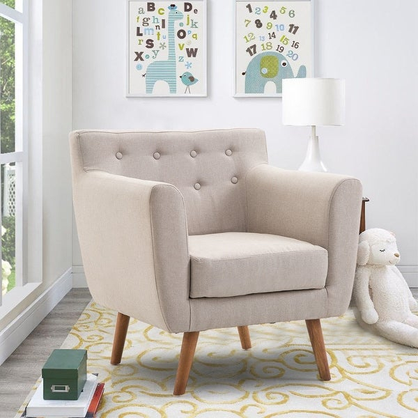 Shop Gymax Arm Chair Tufted Back Fabric Upholstered Accent Within Sofa Arm Chairs (View 13 of 15)