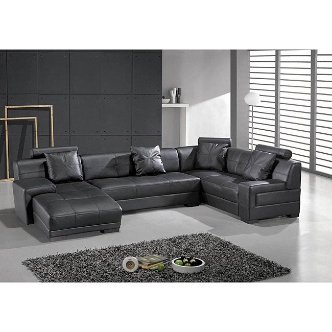 Shop Houston Black Leather 3 Piece Sectional Set – Free Within Wynne Contemporary Sectional Sofas Black (View 7 of 15)