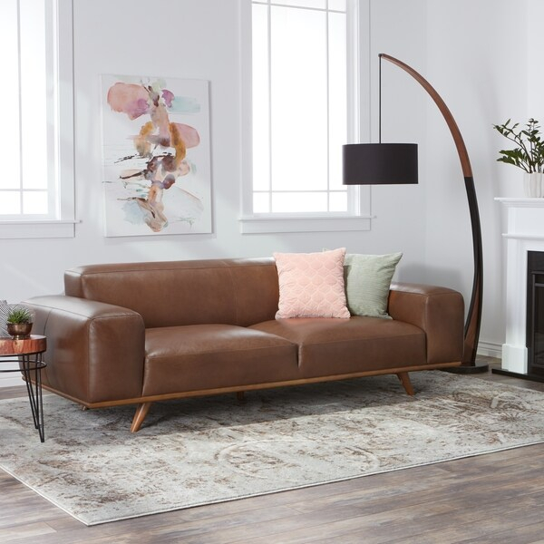 Shop Jasper Laine Dante Italian Oxford Tan Leather Sofa With Celine Sectional Futon Sofas With Storage Camel Faux Leather (View 12 of 15)