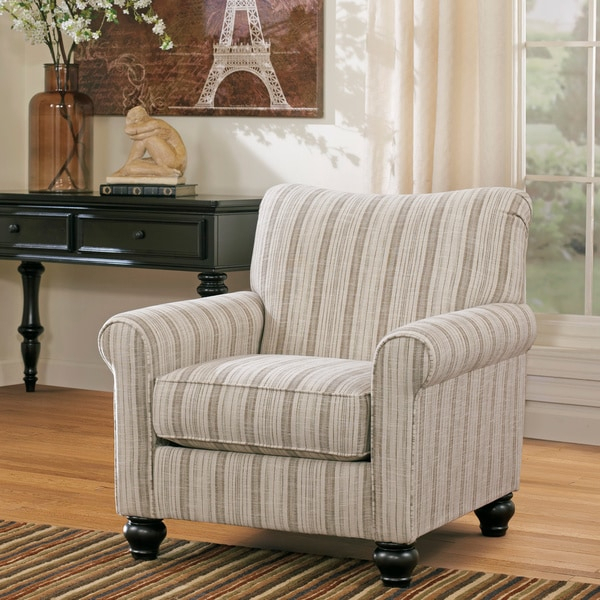 Shop Milari Linen Off White Striped Accent Chair – On Sale Pertaining To Striped Sofas And Chairs (View 7 of 15)