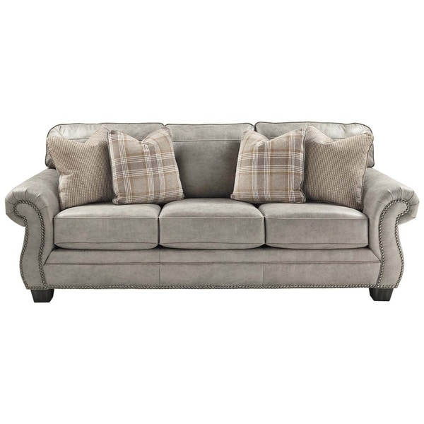 Shop Nailhead Trim Leatherette Queen Size Sofa Sleeper Within 2Pc Polyfiber Sectional Sofas With Nailhead Trims Gray (View 2 of 15)