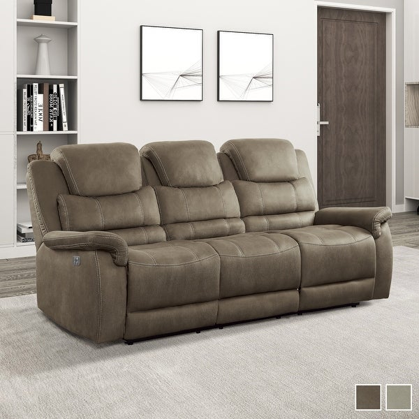 Shop Rosnay Power Double Reclining Sofa With Drop Down Cup For Titan Leather Power Reclining Sofas (View 14 of 15)