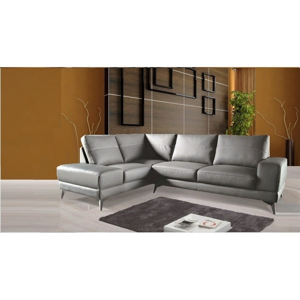 Shop Zoe Sectional Top Grain Leather Sofa Facing Left For Dulce Right Sectional Sofas Twill Stone (View 10 of 15)