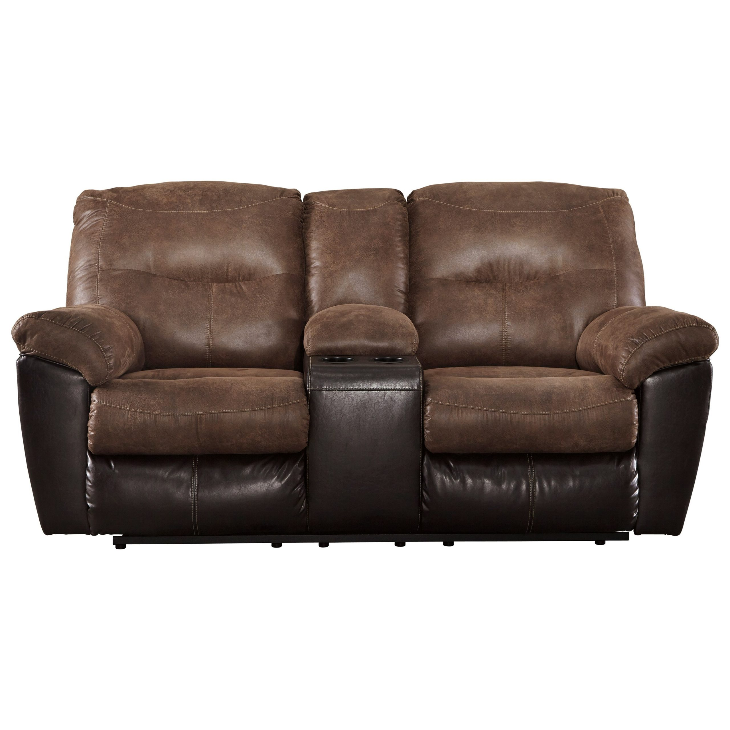 Signature Designashley Follett Two Tone Faux Leather With Regard To Lannister Dual Power Reclining Sofas (View 1 of 7)