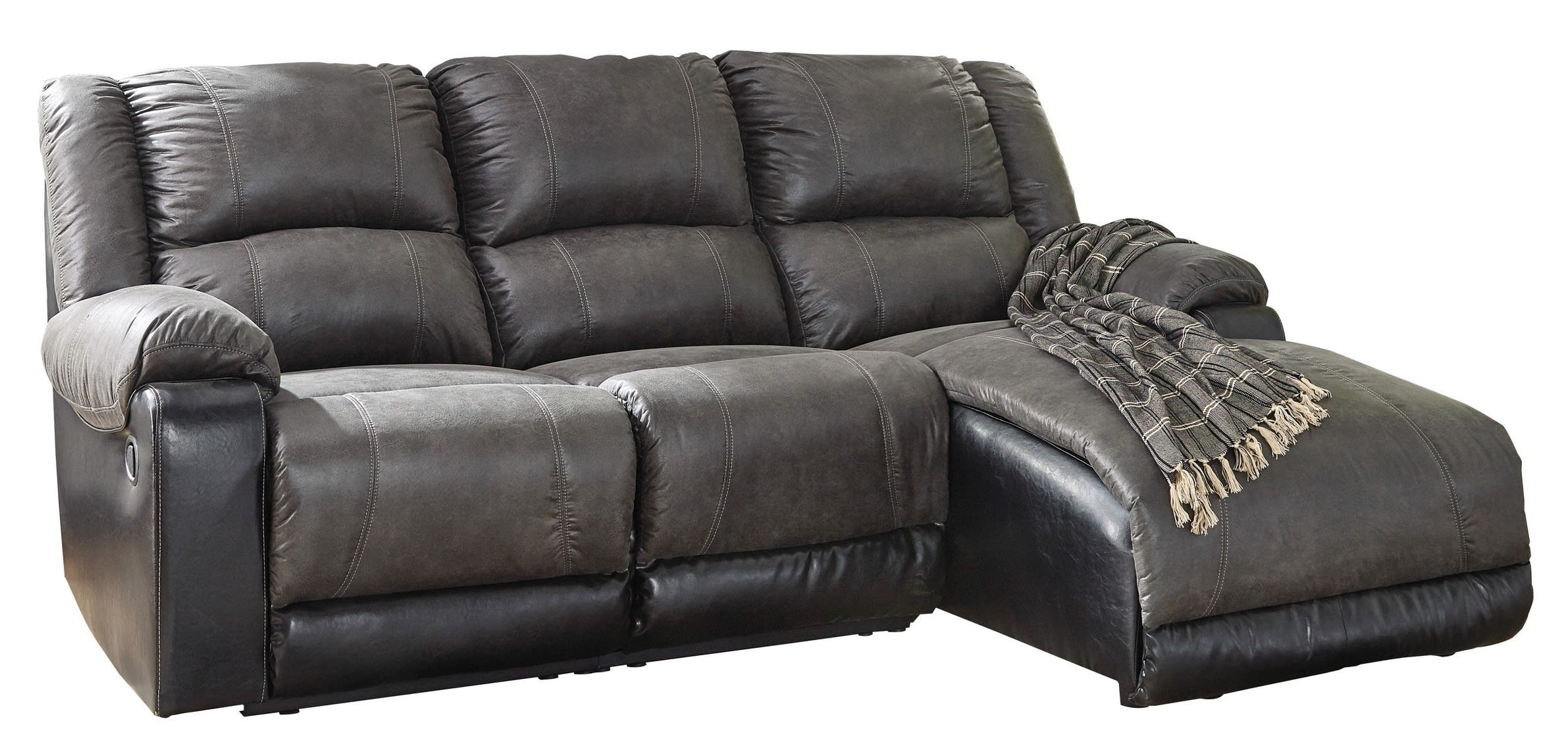 Signature Designashley Nantahala Slate 3 Piece Right Throughout Dulce Right Sectional Sofas Twill Stone (View 15 of 15)