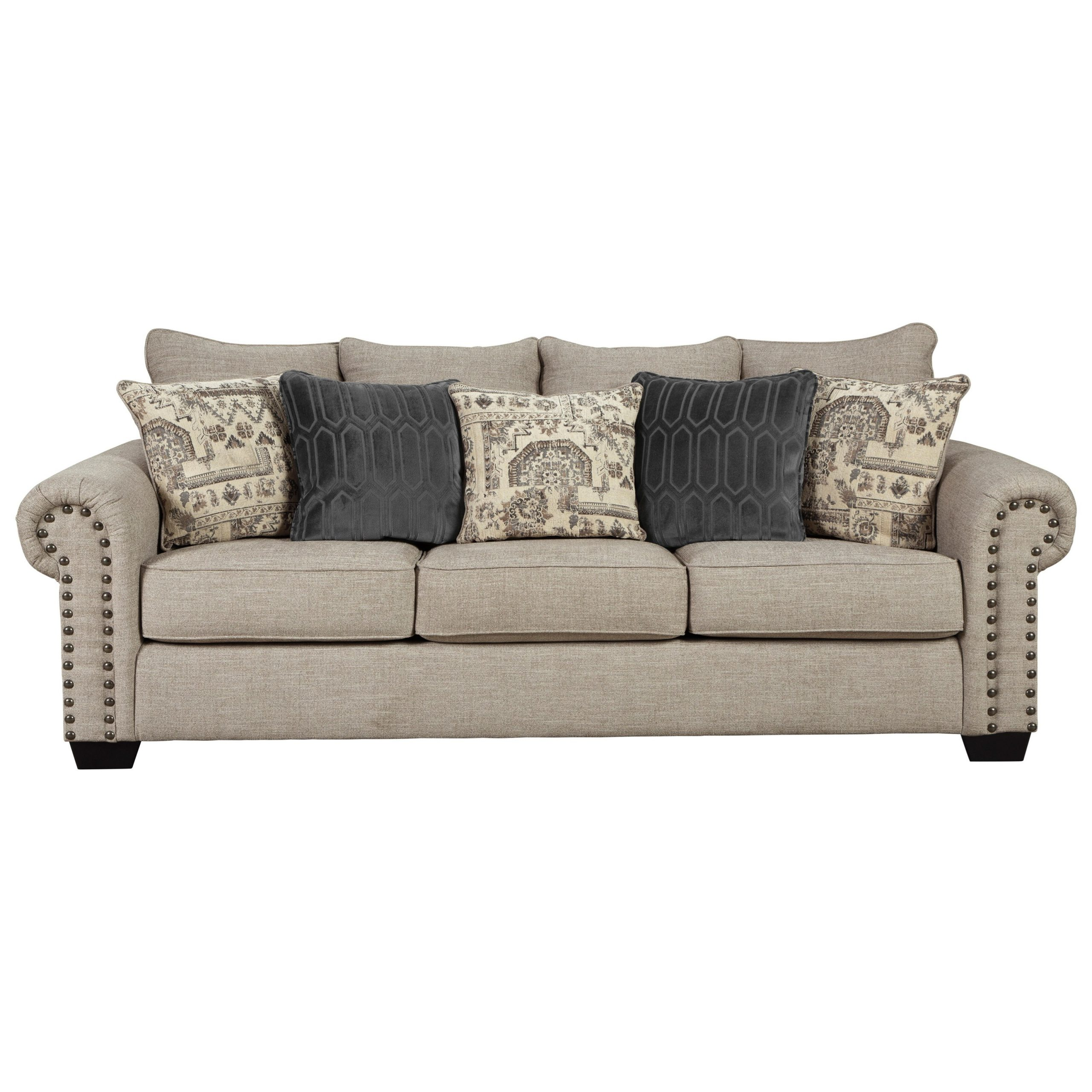 Signature Designashley Zarina 9770438 Transitional Intended For 2Pc Polyfiber Sectional Sofas With Nailhead Trims Gray (View 4 of 15)