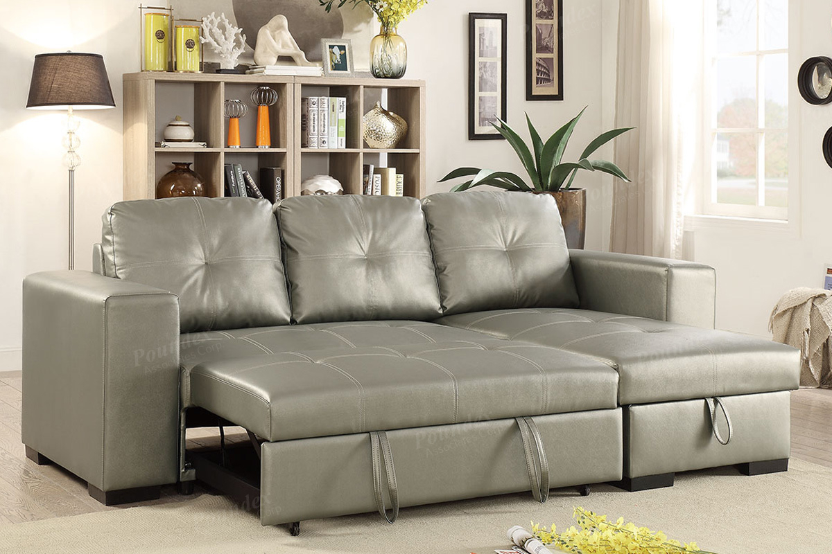 Silver Faux Leather Convertible Sectional Sofa Bed With Regard To Prato Storage Sectional Futon Sofas (View 13 of 15)