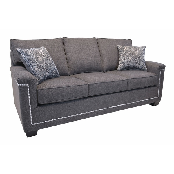 Simone Grey Fabric Sofa With Nailhead Trim – Overstock With Regard To 2Pc Polyfiber Sectional Sofas With Nailhead Trims Gray (View 9 of 15)