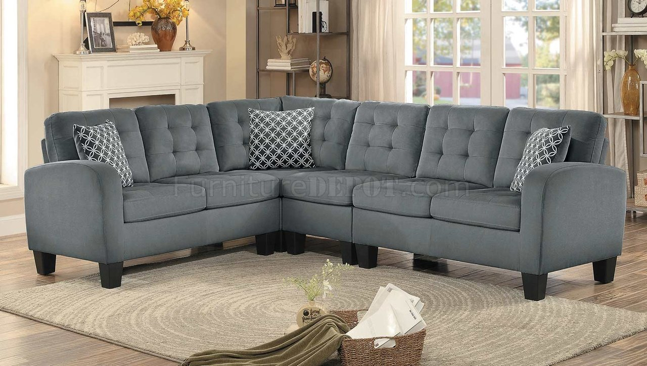 Sinclair Sectional Sofa 8202Gry Sc In Grey Fabric With Grey Sofa Chairs (View 3 of 15)