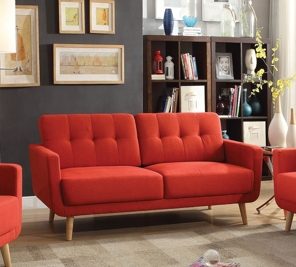 Sisilla Contemporary Red Fabric Sofa Pertaining To Red Sofa Chairs (View 1 of 15)