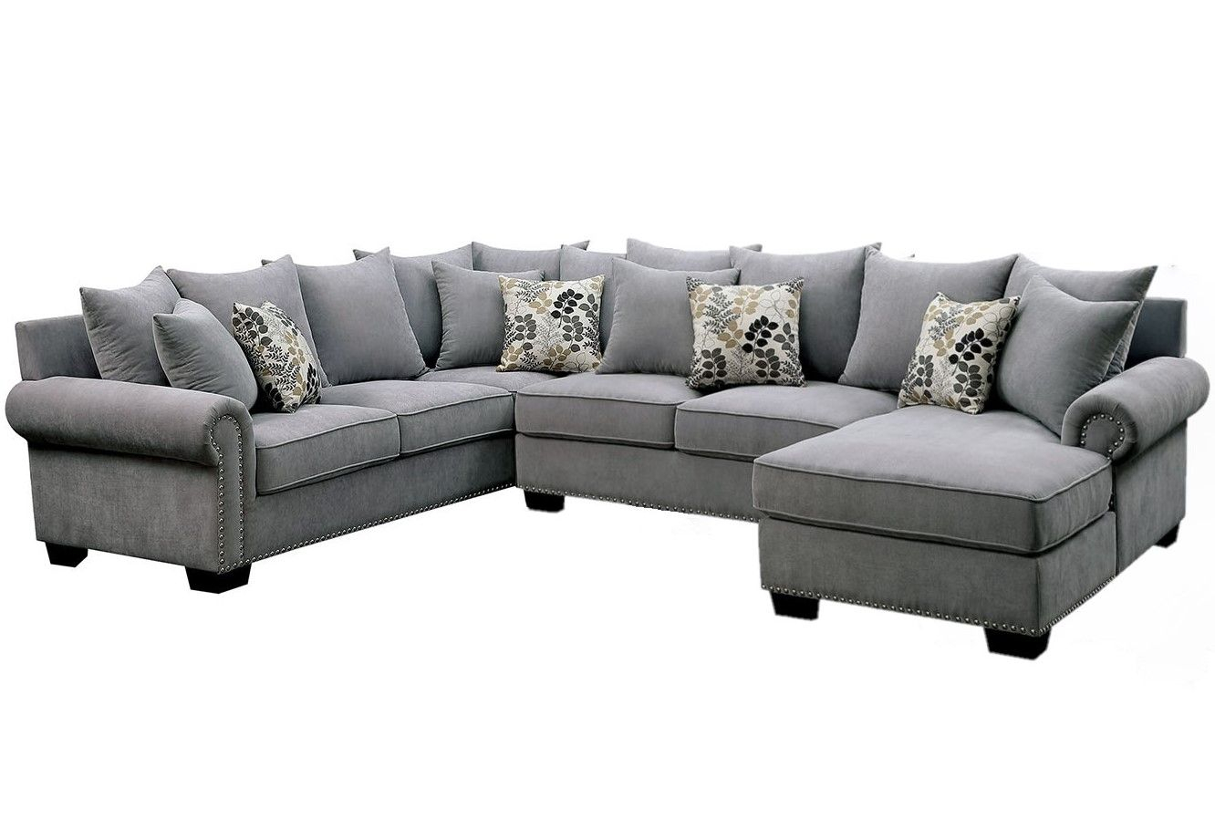 Skyler Ii Transitional Gray Fabric Upholstered Sectional Regarding 2Pc Polyfiber Sectional Sofas With Nailhead Trims Gray (View 10 of 15)
