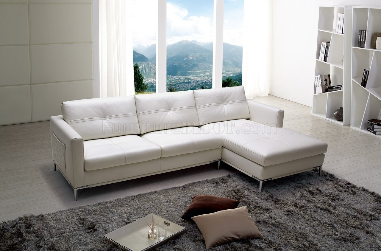 Slim Sectional Sofabeverly Hills In White Full Leather Intended For Sectional Sofas In White (View 6 of 15)