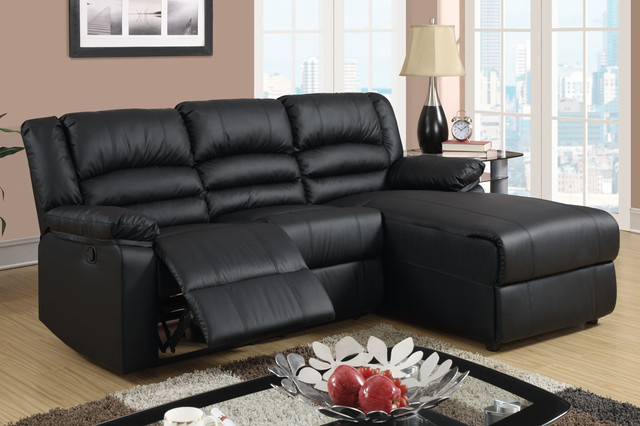 Small Black Leather Reclining Sectional Sofa Set Recliner Pertaining To Bonded Leather All In One Sectional Sofas With Ottoman And 2 Pillows Brown (View 5 of 15)