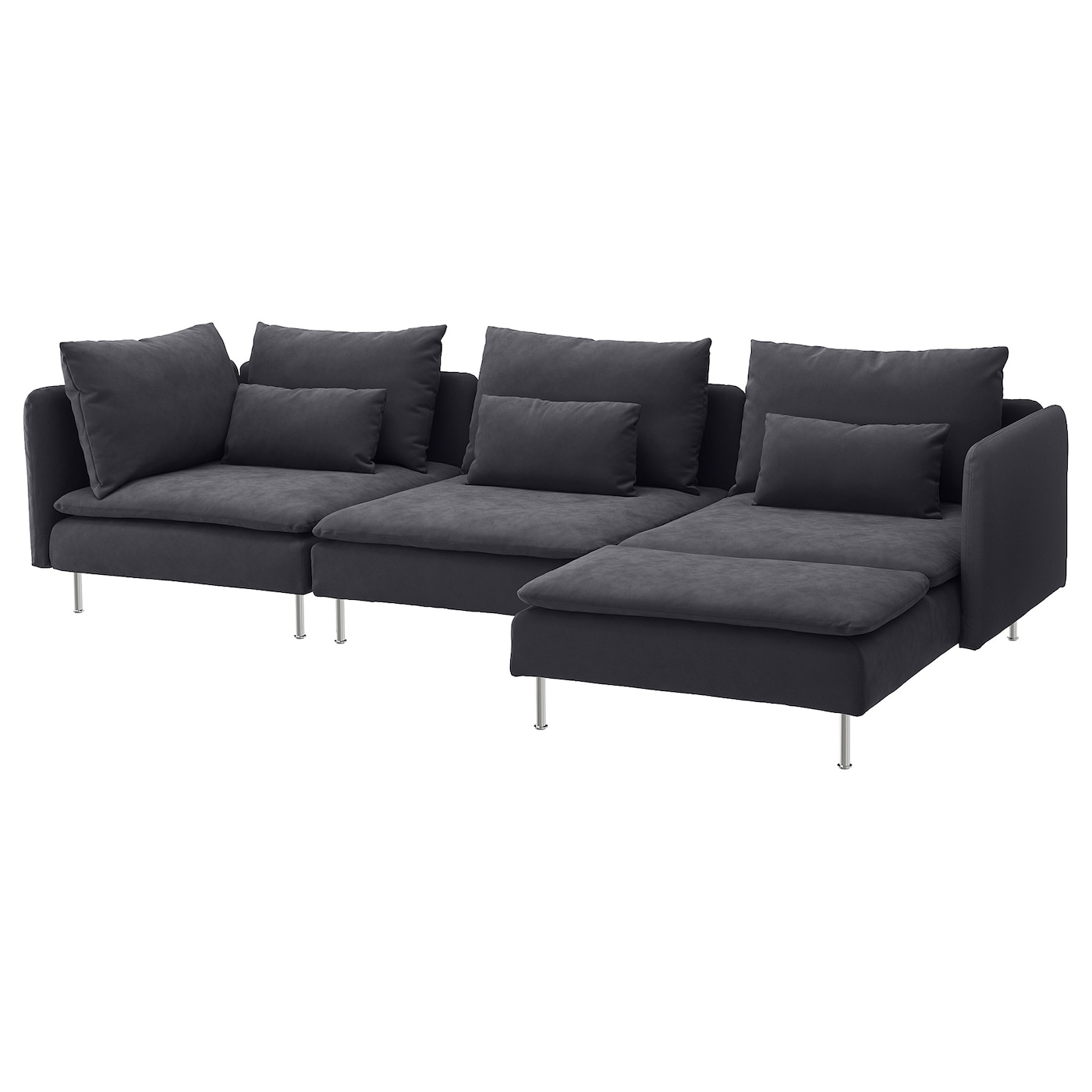 Söderhamn 4 Seat Sofa, With Chaise Longue/Samsta Dark Grey Throughout Sofa With Chairs (View 12 of 15)
