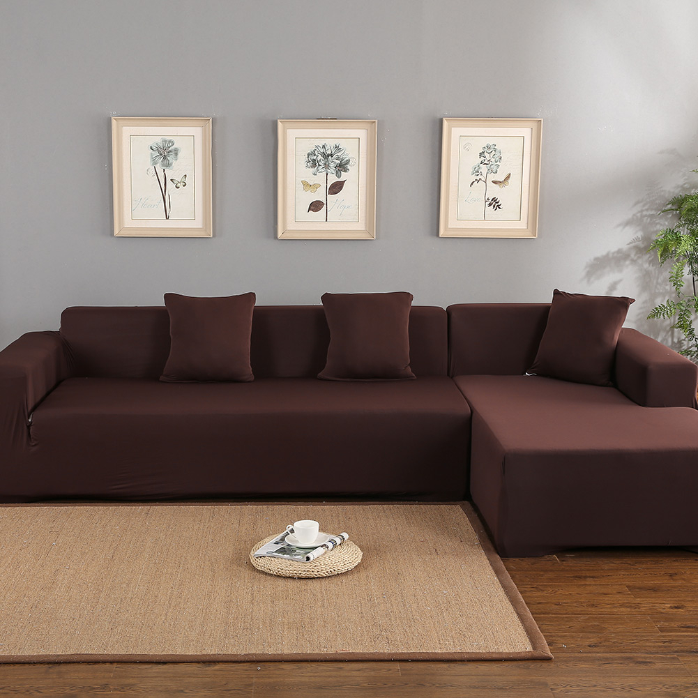 Sofa Covers For L Shape, Polyester Fabric Stretch Intended For 3 Piece Sectional Sofa Slipcovers (View 2 of 15)