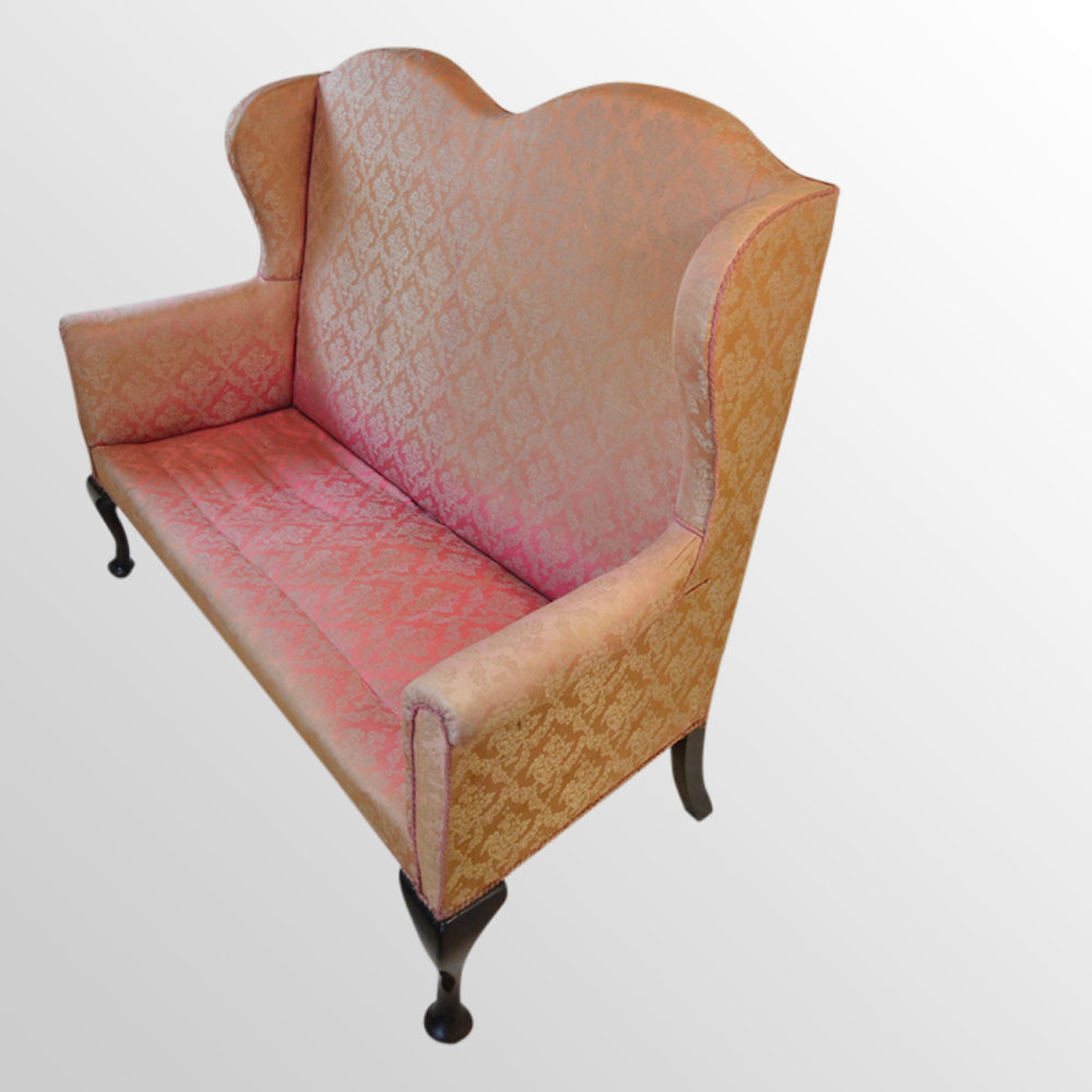 Sofa High Back Couch Wing Arm Settee 3 Seater – Antiques Atlas For Sofas With High Backs (View 12 of 15)