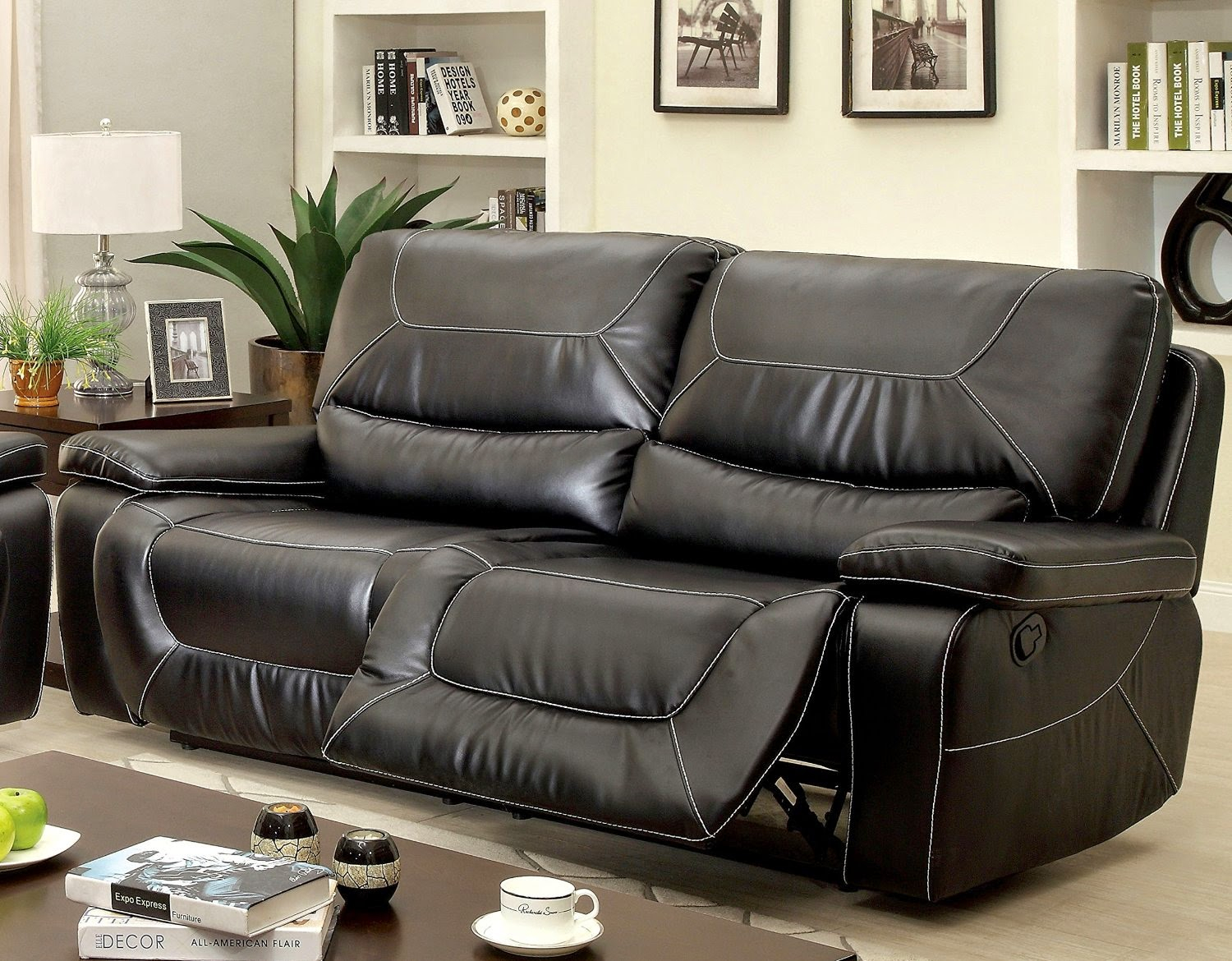 Sofa Recliner Reviews: Black Leather 2 Seater Recliner Sofa In 2 Seater Sofas (View 1 of 15)
