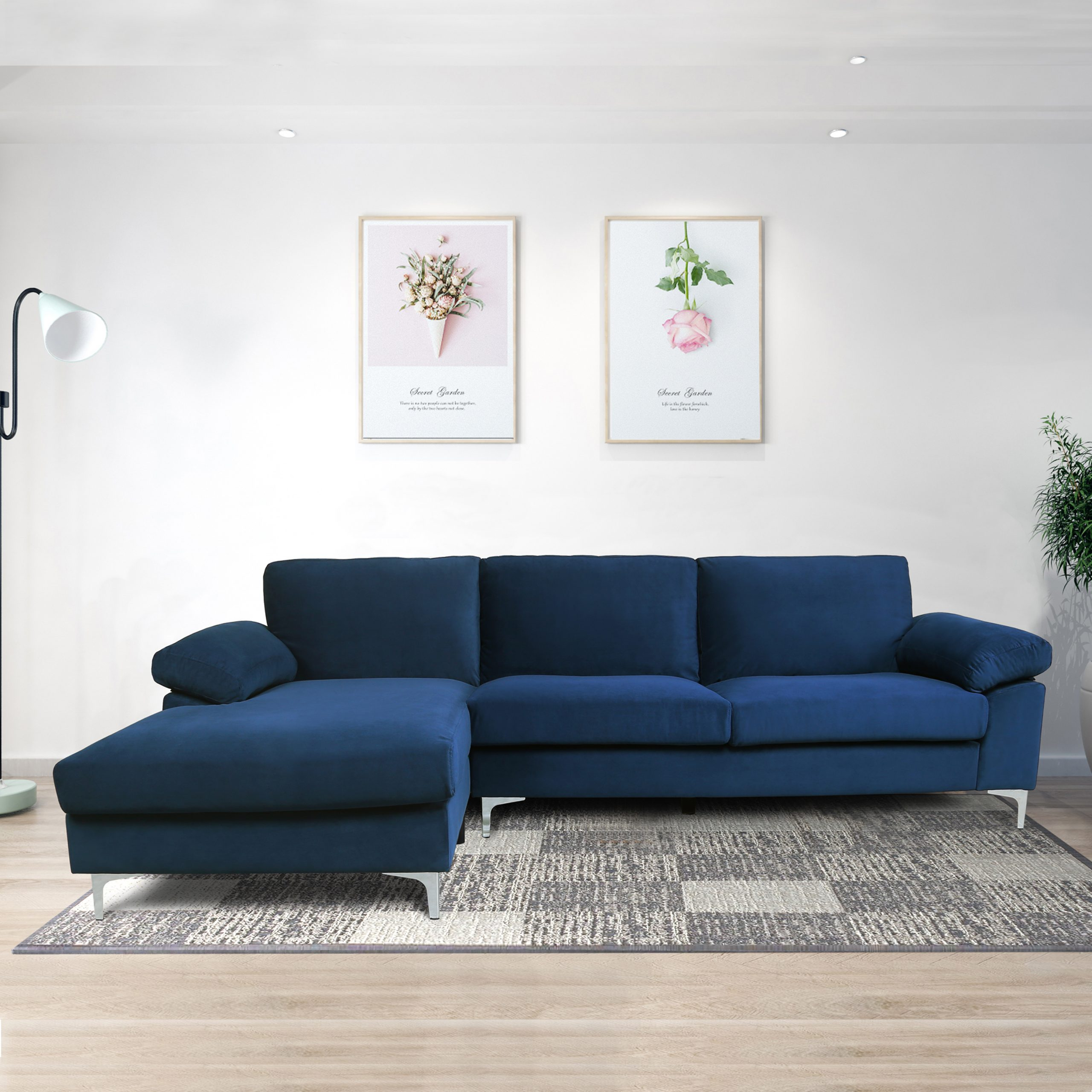 Sofa Surface Navy Blue Velvet Left Side Sectional Sofa Inside Blue Sofa Chairs (View 4 of 15)