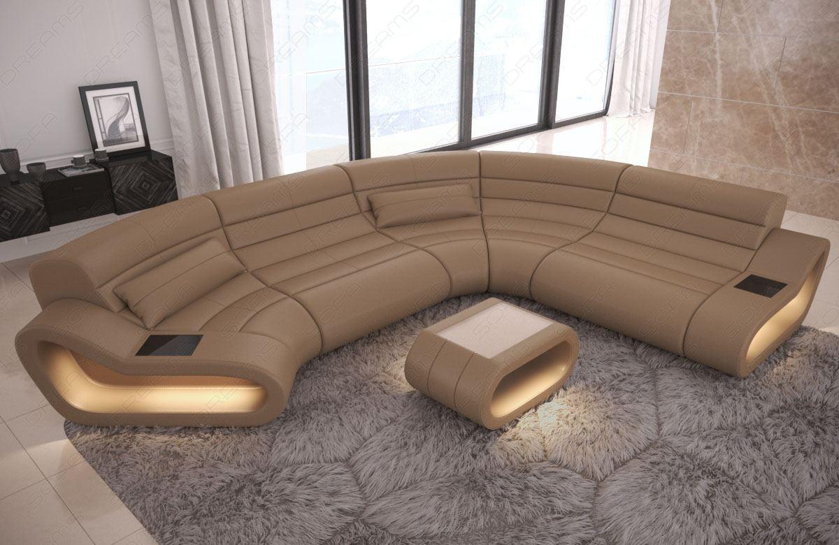 Sofa Wohnlandschaft Leder Concept In Der U Form Mit With Regard To C Shaped Sofas (View 3 of 15)