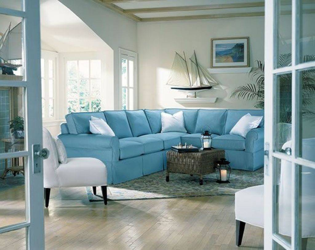 Soft Blue Comfortable Sectional Sofa Elegant Beach Intended For Elegant Sectional Sofas (View 11 of 15)