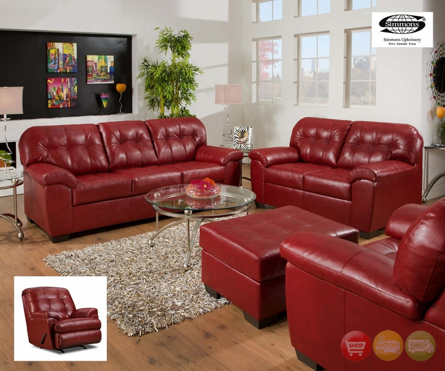 Soho Cardinal Contemporary Sofa Set Red Simmons Upholstery Within Red Sofa Chairs (View 15 of 15)