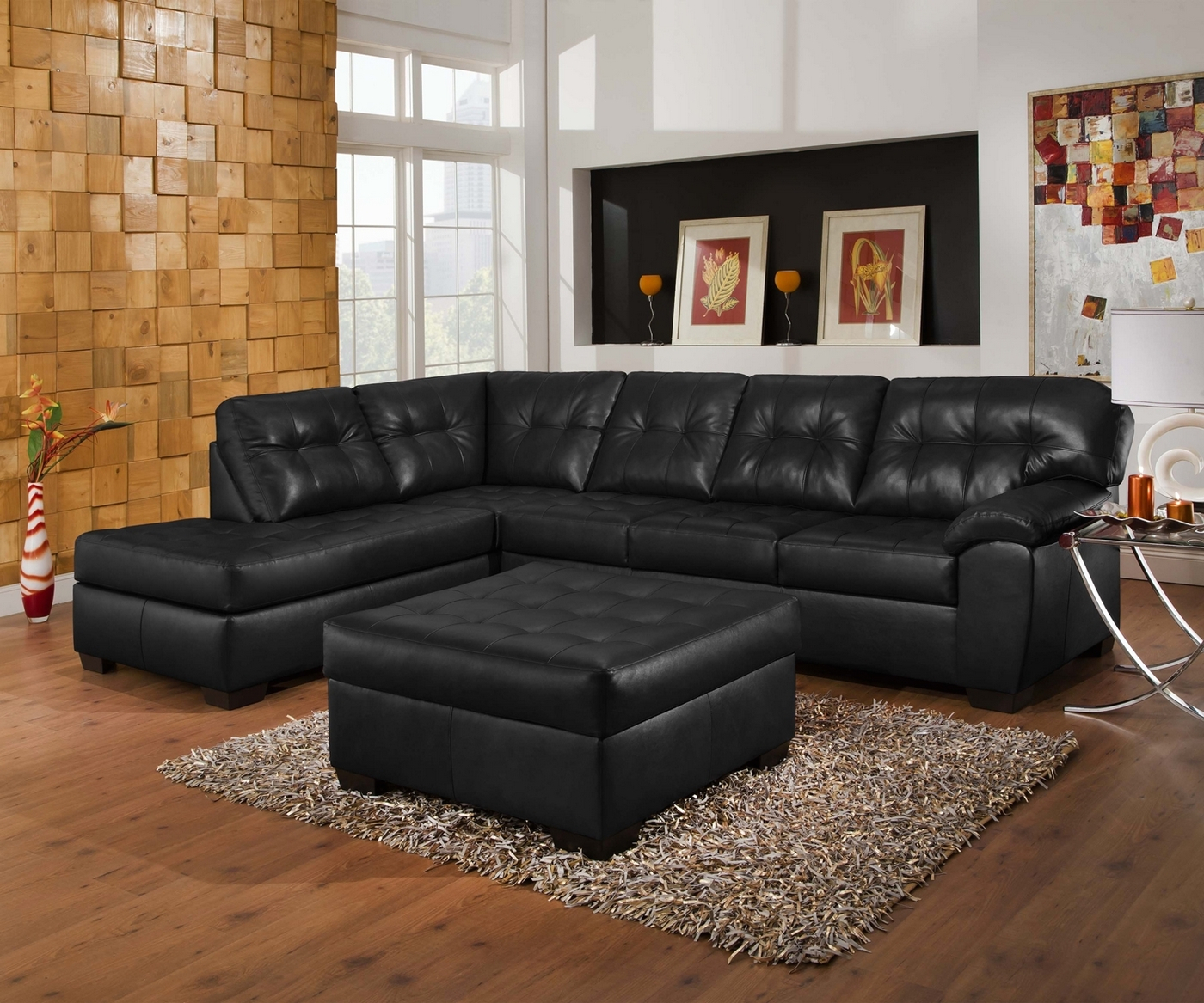 Soho Contemporary Onyx Leather Sectional Sofa W/ Left Chaise Intended For 2Pc Connel Modern Chaise Sectional Sofas Black (View 10 of 15)