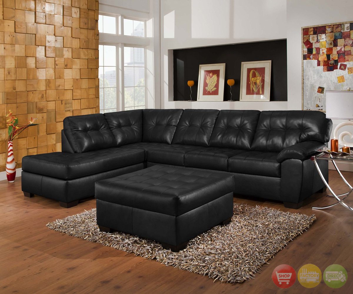 Soho Contemporary Onyx Leather Sectional Sofa W/ Left Chaise Pertaining To Wynne Contemporary Sectional Sofas Black (View 3 of 15)