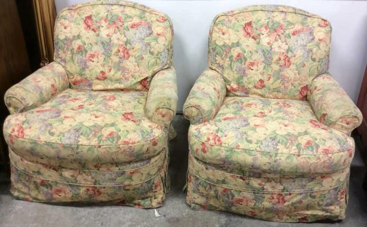 Sold Price: Pair Floral Chintz Upholstered Swivel Club With Chintz Sofas And Chairs (View 11 of 15)