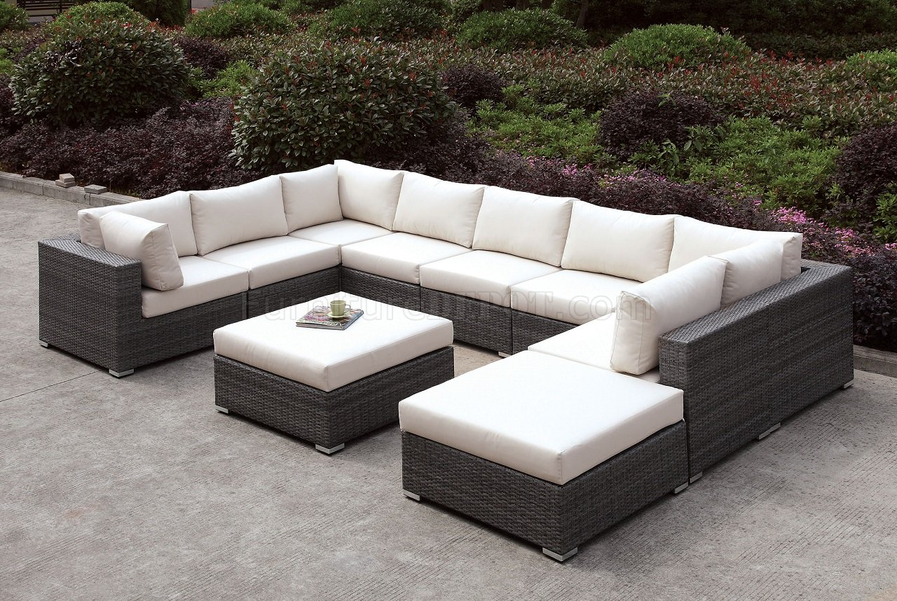 Somani Cm Os2128 1 10Pc Outdoor Patio Sectional Sofa W/Ottoman Regarding Outdoor Sofas And Chairs (View 5 of 15)