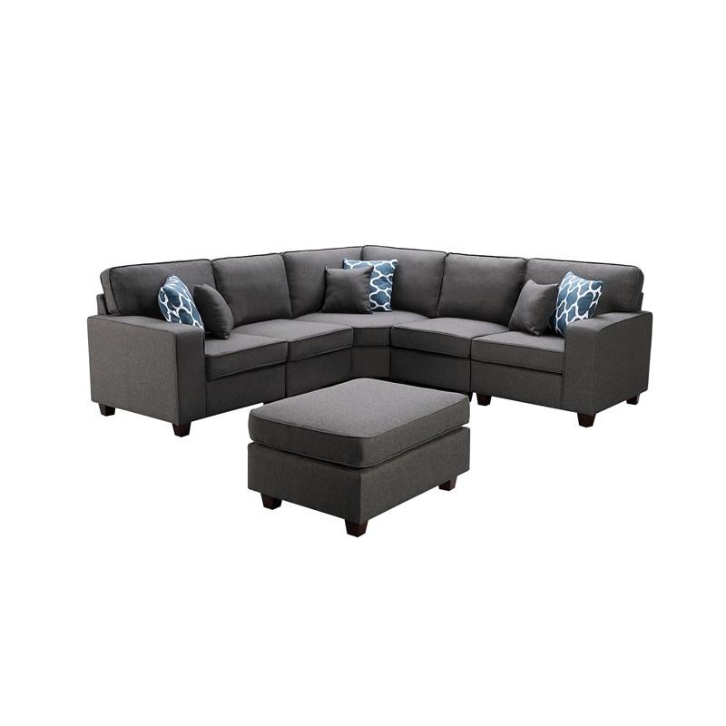 Sonoma Dark Gray Fabric 6Pc Modular Sectional Sofa And Regarding Dream Navy 3 Piece Modular Sofas (View 14 of 15)