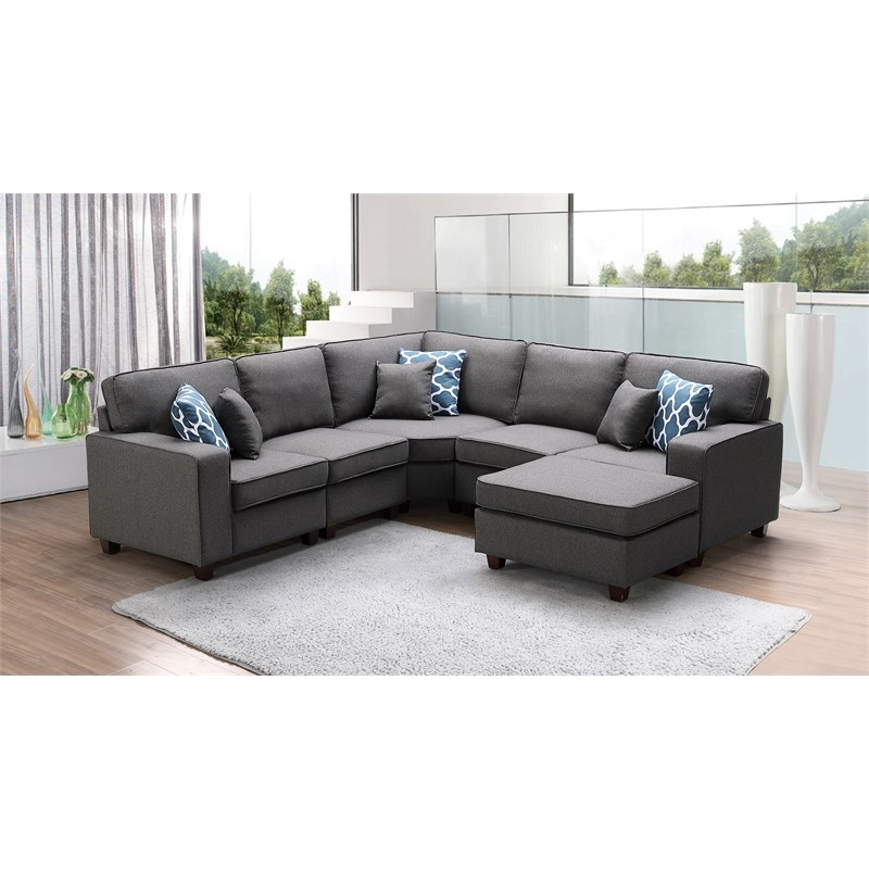 Sonoma Dark Gray Fabric 6Pc Modular Sectional Sofa And Regarding Dream Navy 3 Piece Modular Sofas (View 3 of 15)