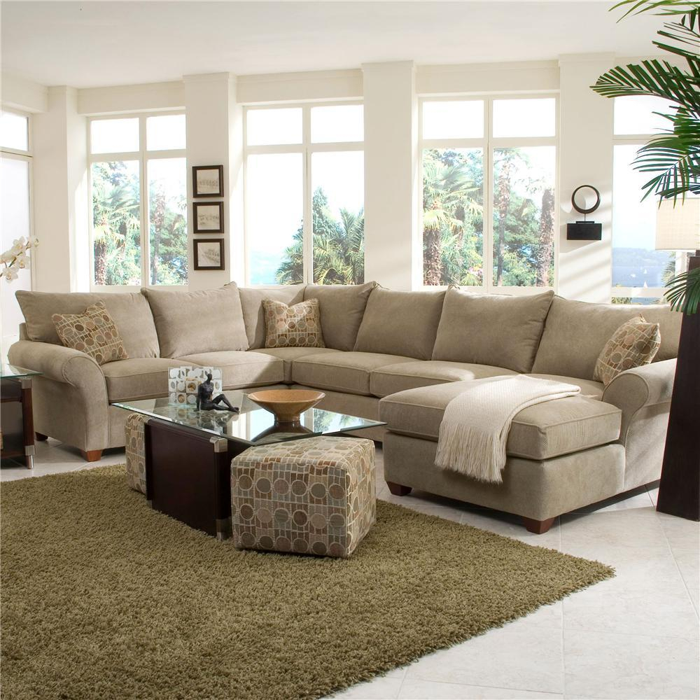 Spacious Sectional With Chaise Loungeklaussner | Wolf For 4Pc Crowningshield Contemporary Chaise Sectional Sofas (View 15 of 15)