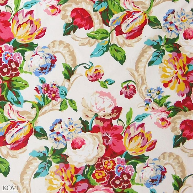 Spring Green And Pink Chintz Cotton Upholstery Fabric Inside Chintz Fabric Sofas (View 6 of 15)